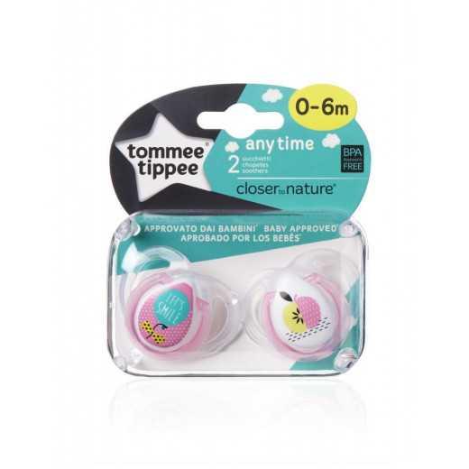 """Ortodontiniai čiulptukai """"Any Time"""" rožiniai 0-6m Tommee Tippee 2vnt."""