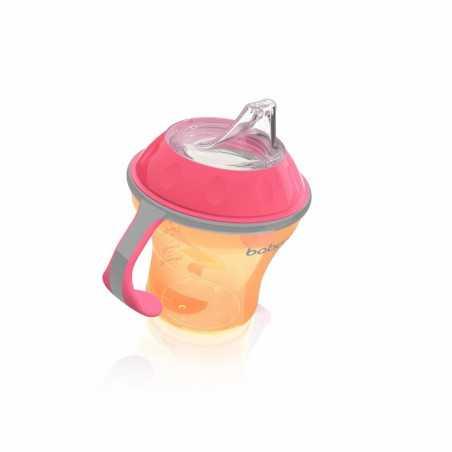 Neišsiliejantis puodelis minkštu snapeliu NATURAL NURSING 180ml oranžinis BabyOno 1456