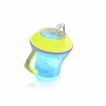 Neišsiliejantis puodelis minkštu snapeliu NATURAL NURSING 180ml mėlynas BabyOno 1456