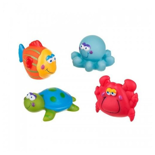 Vonios žaislai jūros gyvūnai 4 vnt AKUKU