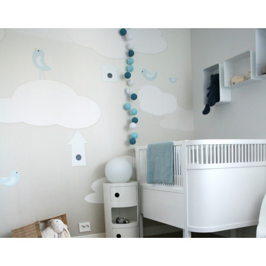 Šviečiančios girliandos medvilninis TAMSIAI MĖLYNAS burbulas COTTON FAIRY LIGHTS 0035