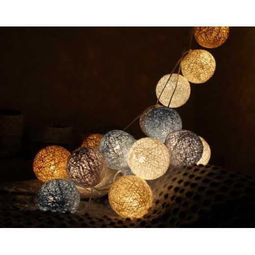 Šviečiančios girliandos medvilninis MIX NATŪRALUS burbulas COTTON FAIRY LIGHTS 0040