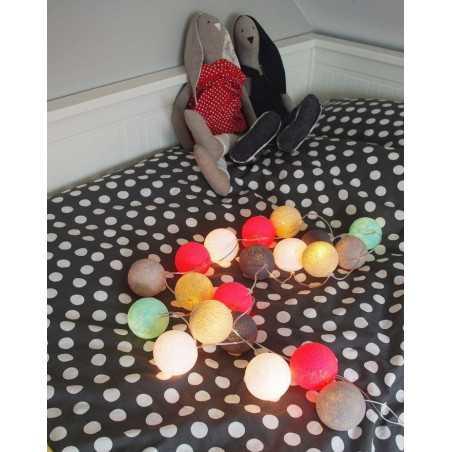 Šviečiančios girliandos medvilninis MIX ORANŽINIS burbulas COTTON FAIRY LIGHTS 0043
