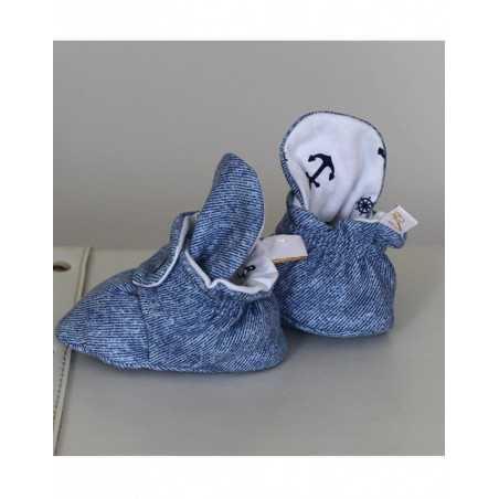 "Medvlininiai batukai ""Jūris"" 10cm mėlyni-balti Vilaurita 674"
