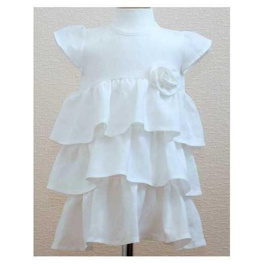 Lininė kikšto suknelė su rožyte LORITA  962 balta 92 cm