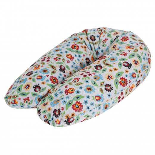 Miegojimo ir maitinimo pagalvė nėščiosioms MULTI gėlytės-pilka CebaBaby