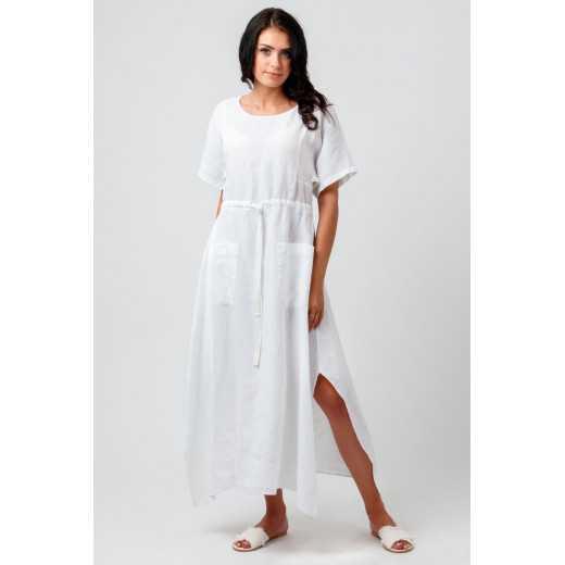 Omniteksas Balta moteriška lininė suknelė